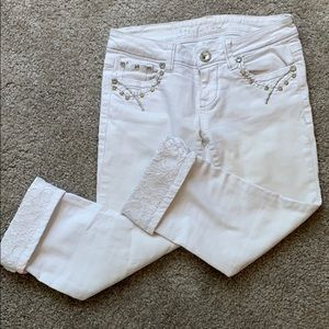 White Grace in LA rhinestoned capri pants